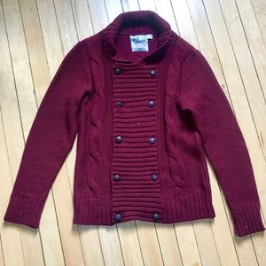 Topman Double Breasted Maroon Cable Knit Sweater